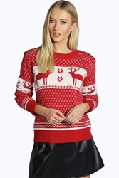 Boohoo Snowflake And Reindeer Knitted Jumper Red