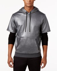 Guess Men's Logan Thermal Hoodie Dark Coal Heather