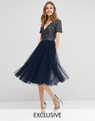 Maya V Neck Midi Tulle Dress With Tonal Delicate Sequins Navy