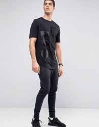 Religion Longline T Shirt With Absract Silk Patch Detail Black