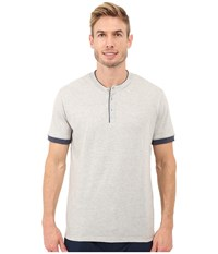 Kenneth Cole Reaction Henry Neck T Shirt Light Heather Grey Black Iris Men's T Shirt White