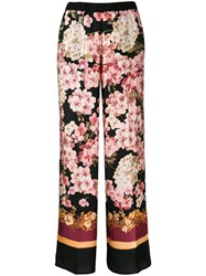 Twin Set Floral Print Trousers Black