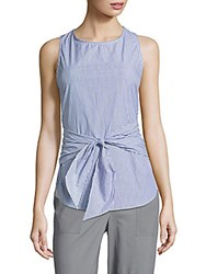 Saks Fifth Avenue Striped Cotton Knotted Top Blue