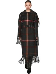 Salvatore Ferragamo Long Belted Check Virgin Wool Coat Black