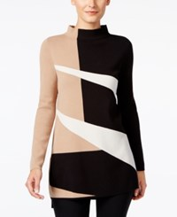 Alfani Colorblocked Mock Neck Sweater Only At Macy's Angle Geo Black