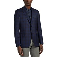 Brioni Ravello Plaid Worsted Wool Two Button Sportcoat Navy