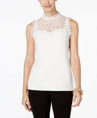 Thalia Sodi Mock Neck Lace Illusion Top Only At Macy's Cloud