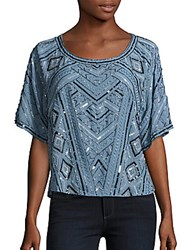 Parker Post Beaded Short Sleeve Top Frost