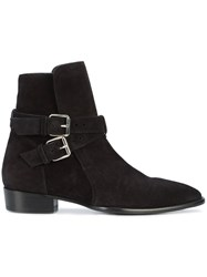 Amiri Buckle Detail Ankle Boots Leather Suede Black