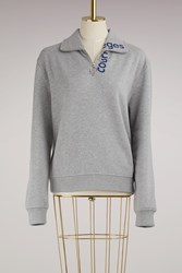 Courreges Zipped Sweater With Logo Grey And Blue