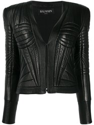 Balmain Quilted Leather Jacket 60