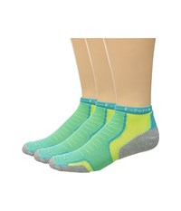 Thorlos Experia Malibu Collection 3 Pair Pack Turquoise Yellow Crew Cut Socks Shoes Blue
