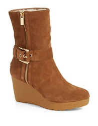 Michael Michael Kors Lizzie Faux Shearling Lined Wedge Booties Brown