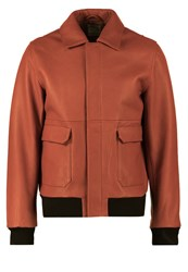 Wood Wood Dean Leather Jacket Gold Flame Red Metallic