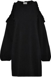 Milly Cold Shoulder Ruffle Trimmed Knitted Mini Dress Black