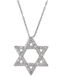 Macy's Diamond Star Of David Pendant Necklace In Sterling Silver 1 10 Ct. T.W.