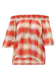 Ace And Jig Marisol Plaid Cotton Top Red
