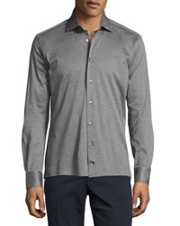 Luciano Barbera Pique Button Front Sport Shirt Gray