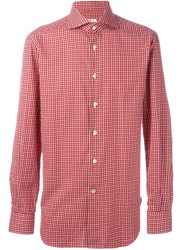 Kiton Checked Print Shirt Red