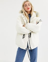 Tommy Jeans Expedition Coat With Drawstring Waist Cream