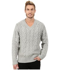 Dkny Long Sleeve Lux Cable V Neck Sweater Heather Grey Men's Sweater Gray