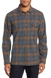 Jeremiah Washburn Regular Fit Plaid Stretch Brushed Flannel Shirt Blue Wing Teal Heather