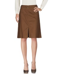 Leonard Paris Knee Length Skirts Khaki