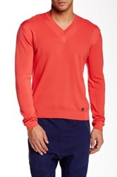 Versace V Neck Sweater Red