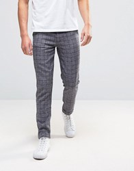 Another Influence Grid Check Woven Chino Trousers Grey Navy
