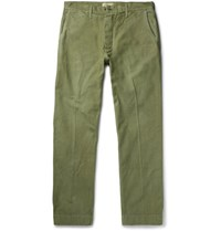 Chimala Wide Leg Cotton Chinos Green