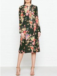 Hobbs Cecilia All Over Floral Print Long Sleeve Dress Khaki