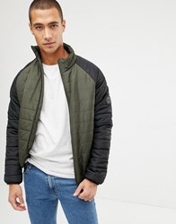 French Connection Padded Jacket With Contrast Raglan Sleeve Khaki Black Green
