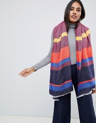 Oasis Knitted Scarf In Multi Coloured Stipe Orange