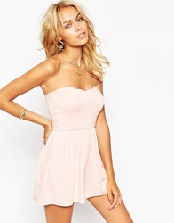 Asos Bandeau Playsuit With Scallop Edge Nude