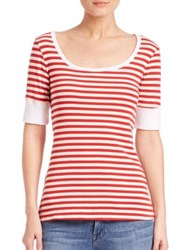 Frame Le Striped Boatneck Tee Red Stripe
