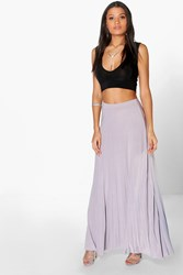 Boohoo Pleated Slinky Maxi Skirt Grey