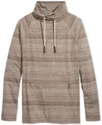 American Rag Men's Funnel Neck Stripe Shirt Only At Macy's Warm Taupe