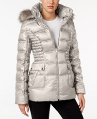 Laundry By Design Faux Fur Trim Quilted Puffer Coat Bone