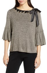 Ming Wang Ruffle Sleeve Ribbon Tie Sweater Black Cedar