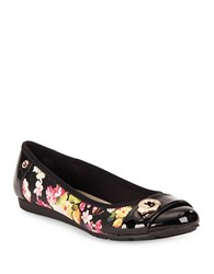Anne Klein Azi Zebra Embossed Cap Toe Flats Black Multi