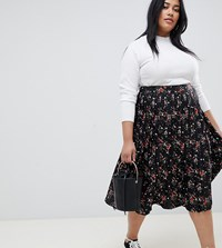 Influence Plus Pleated Midi Skirt In Floral And Star Print Black Floral