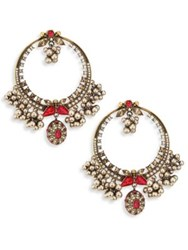 Alexander Mcqueen Small Crystal And Faux Pearl Hoop Earrings 1 Grey Red