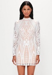 Missguided White Placed Lace High Neck Mini Dress