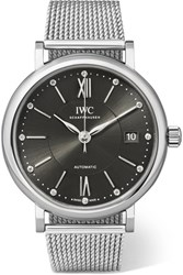 Iwc Schaffhausen Portofino Automatic 37 Stainless Steel And Diamond Watch Silver