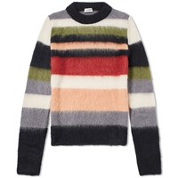 Saint Laurent Mohair Stripe Crew Knit Multi
