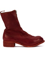 Guidi Zip Up Fitted Boots Red