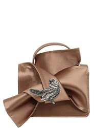 N 21 Knotted Satin Bag W Bird Applique