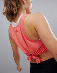 Adidas Training Knot Tank In Coral Trace Scarlet S18 Pink