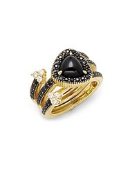 Judith Ripka Diamonds Black Onyx And 18K Yellow Gold Ring Black Gold