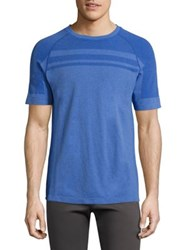 Mpg Ribbed Raglan Sleeve Tee Heather Tangelo Heather Cobalt